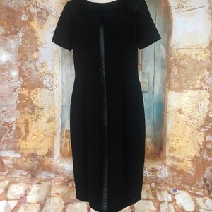 NWT OLSEN EUROPE Black Leather Accent Dress Sz 12